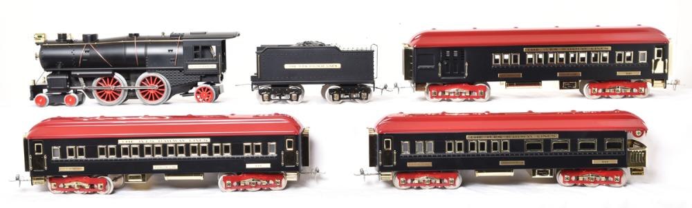 MTH tinplate Ives Black Diamond reproduction passenger set - Contemporary locomotive