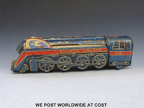 A large scale tin plate train Golden Falcon