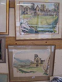 Two watercolours, one of Fountains Abbey & signed