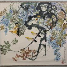Tan Changrong (1933- ) Wisteria And Orioles