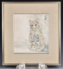 Wang Yachen (1894-1983) Cat With Frame