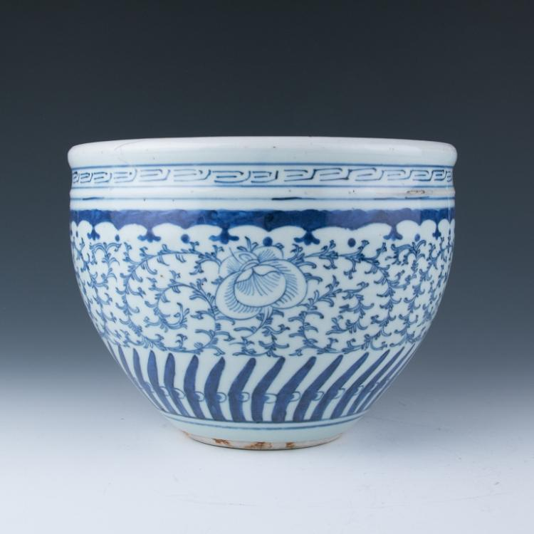 A Blue and White Jardiniere
