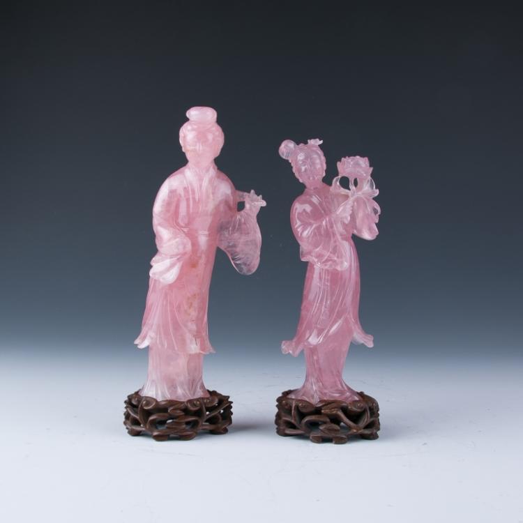 A Pair of Rose Quartz Lady Figures