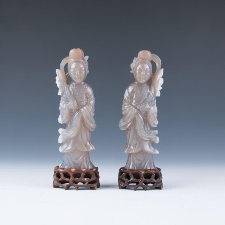 A Pair of Agate Lady Figures