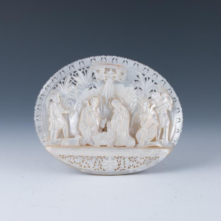 A Carved Mother- of Pearl Shell Plaque