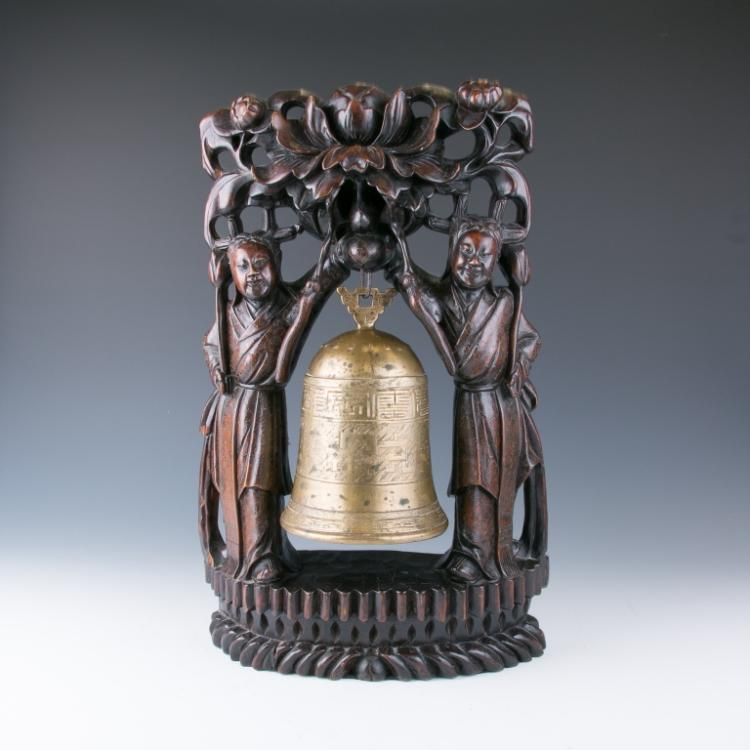 A Bronze Bell with Wood Carved Stand, 19th Century
