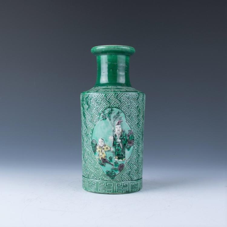 A Green Glazed Rouleau Vase