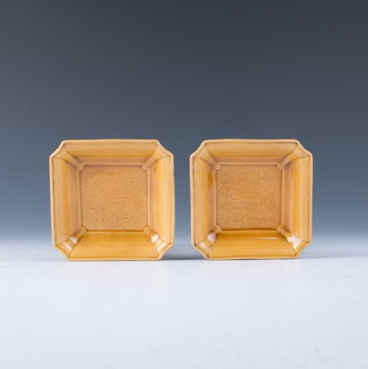 A Pair of Yellow Glazed Square Plates