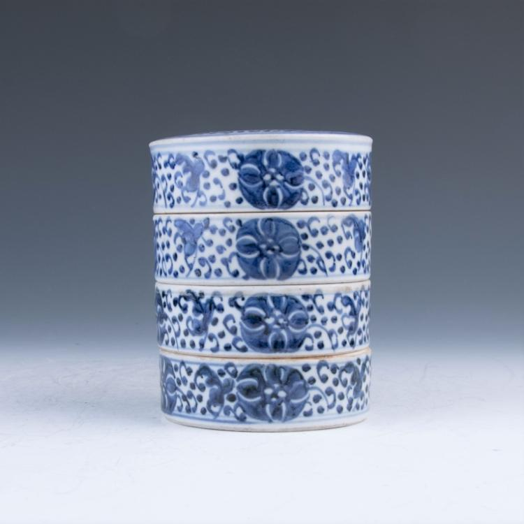 A Blue and White Four Layers Cover Box, Late Qing
