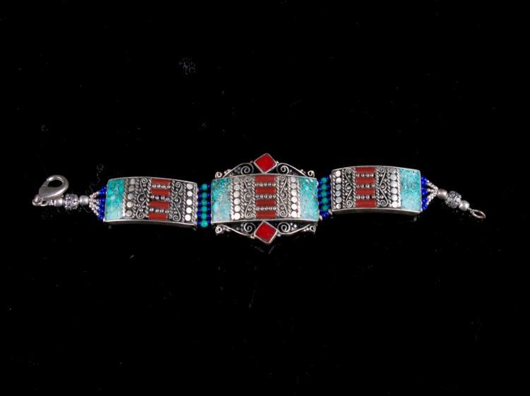 A Cloisonne Enamel Sliver Bracelet