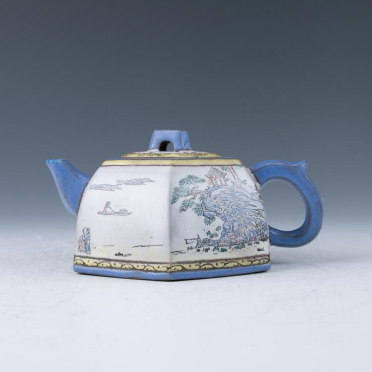 A Zisha Hexagonal Teapot