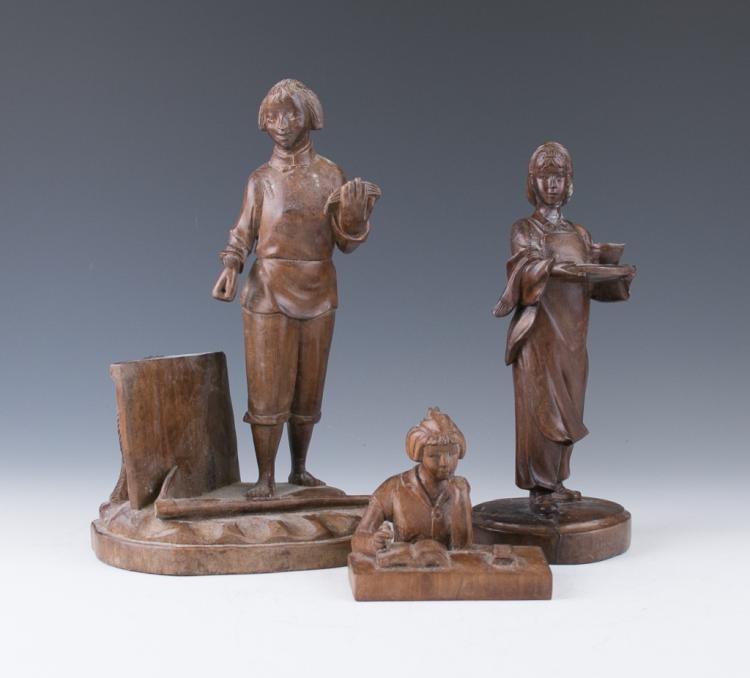 A Set of Figural Wood Carvings,Cultural Revolution