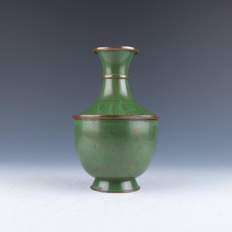 A Green Cloisonne Vase with Cover