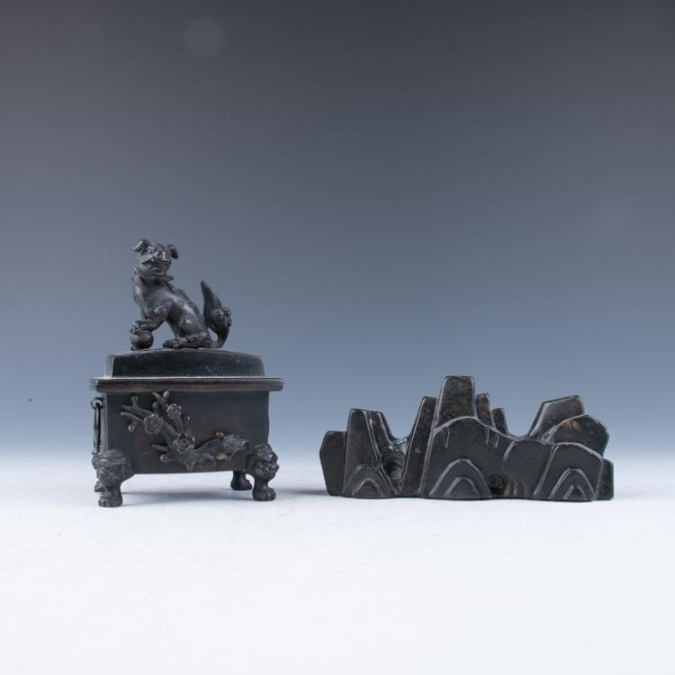 A Bronze Censer and Black Stone Brush Rest