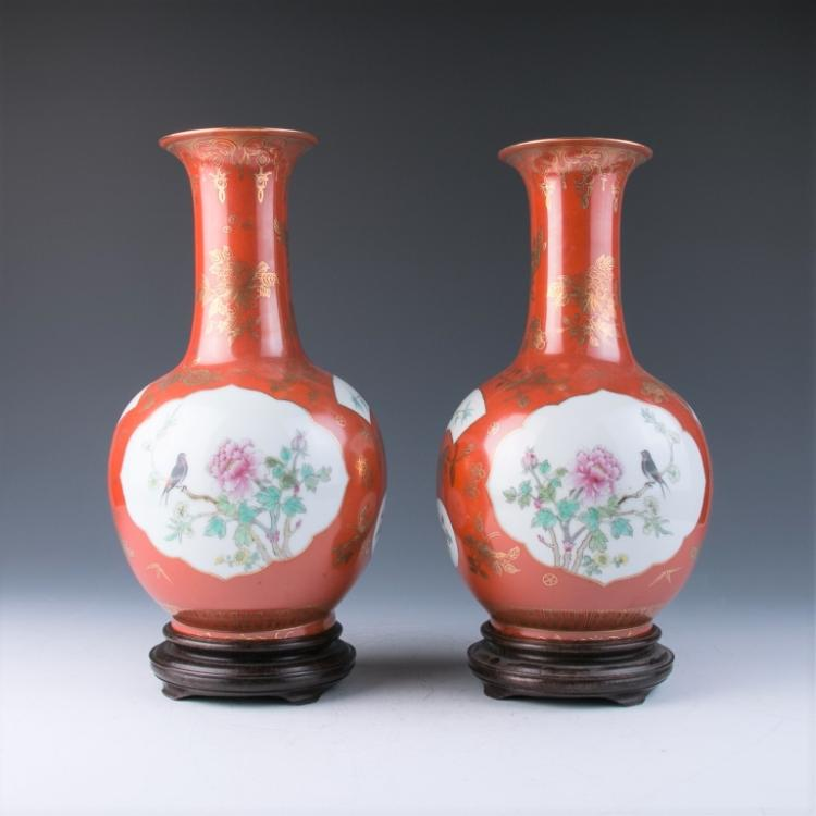 A Pair of Gilt Coral Red Vases, Republic Period