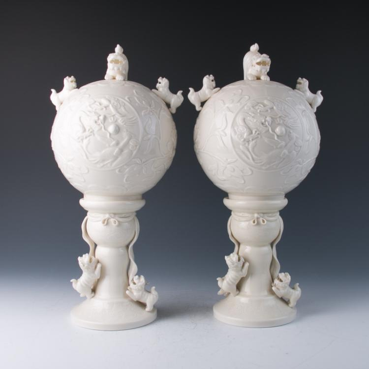 A Pair of Blanc De Chine Two-Section Lamps, 20th C