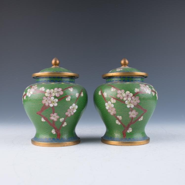 A Pair of Green Cloisonne Jars with Covers