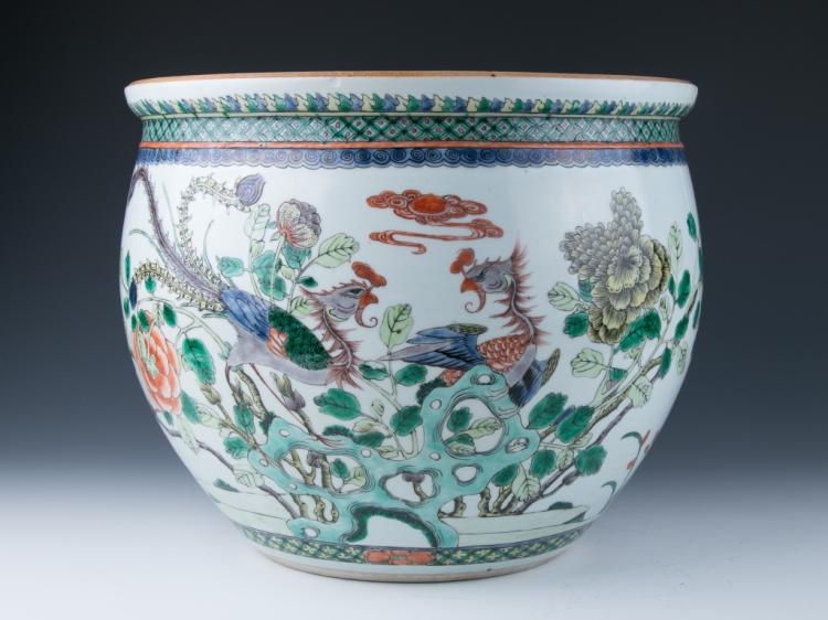 A Large Famille Rose Jardiniere, Qing Dynasty