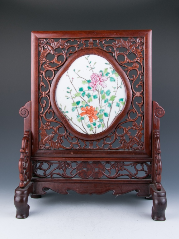 A Famille-Rose Enameled Plaque Wood Stand