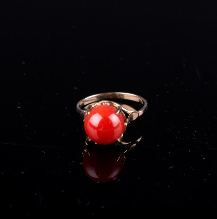 An AkA Red Coral Ring 18K Gold