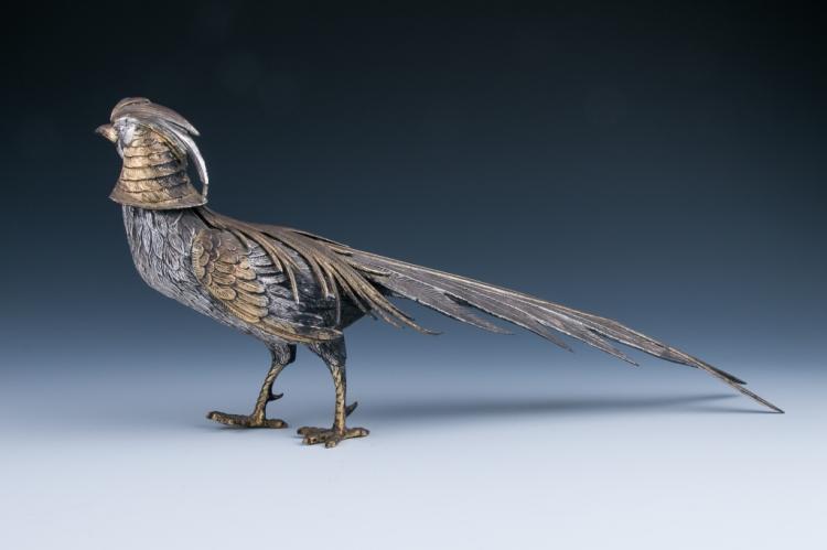 A Parcel-gilt Figure of Pheasant