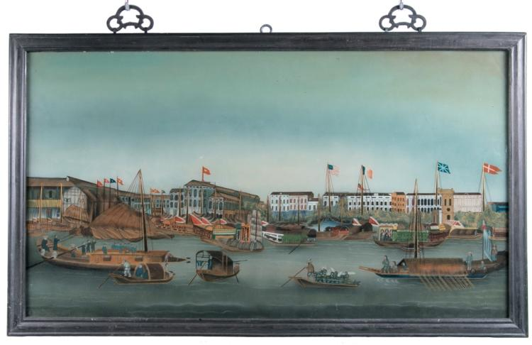 A Reverse-Glass Painting of The Thirteen Factories