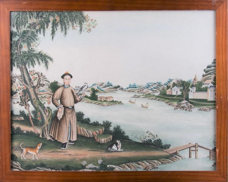 An Export Chinese Painting with Frame, Qing