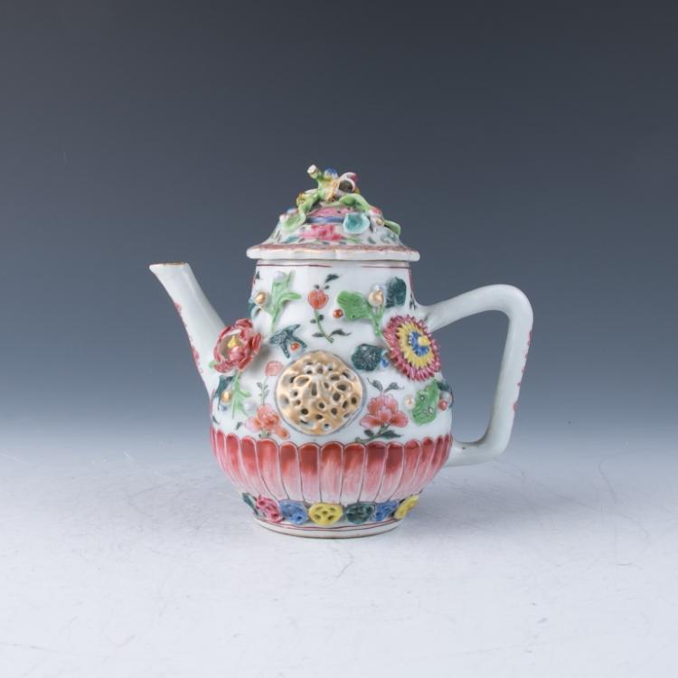 An Export Famille Rose Molded Teapot, Qianlong