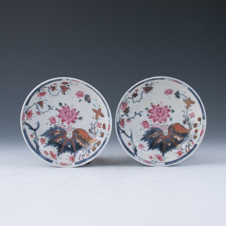 A Pair of Export Famille Rose Dishes, 18th Century