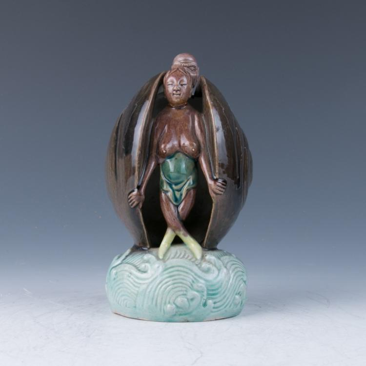 A Sancai Glazed Porcelain Erotic Group, 19th Century