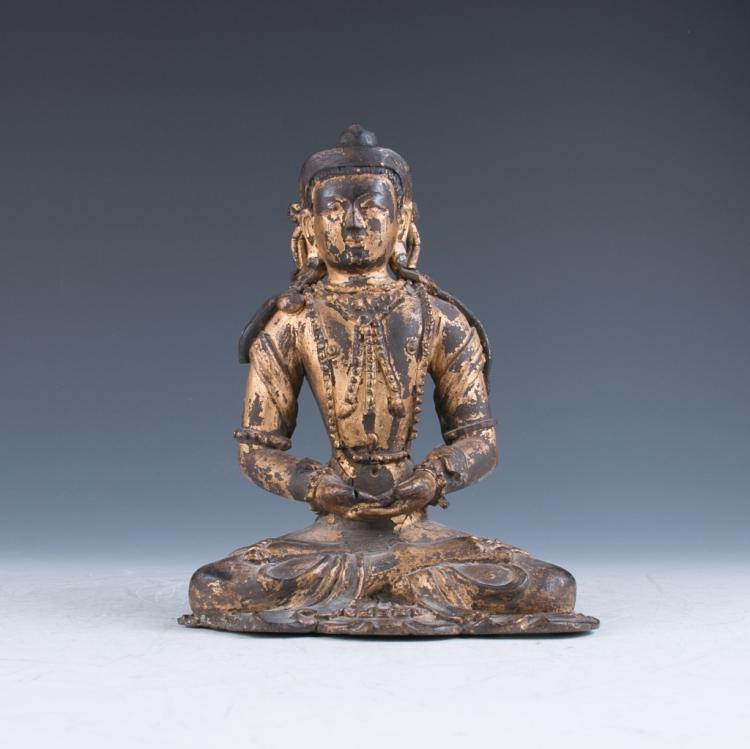 A Gilt Lacquered Clay Figure of the Buddha