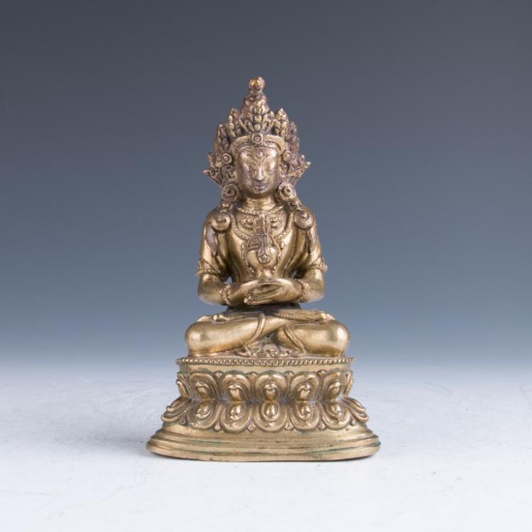 A Gilt Bronze Amitayus Buddha, 18th Century
