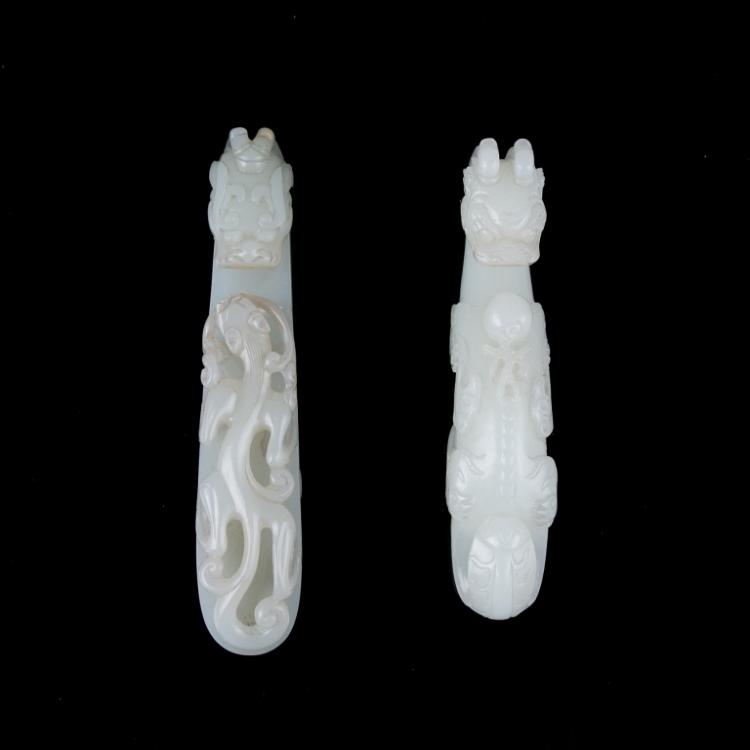A Pair of Jade Carved Belthooks, Qing Dynasty
