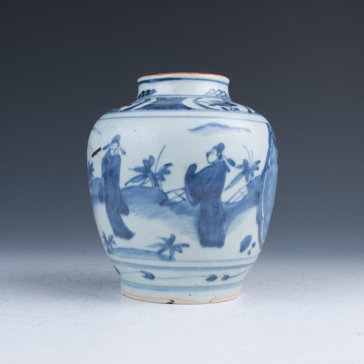 A Blue and White Figures Jar, Ming Dynasty Rabbit