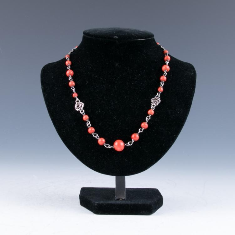 A Red Coral Silver Necklace