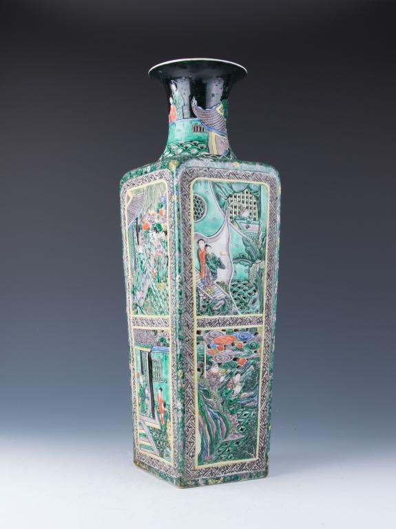A Large Famille Verte Square Vase