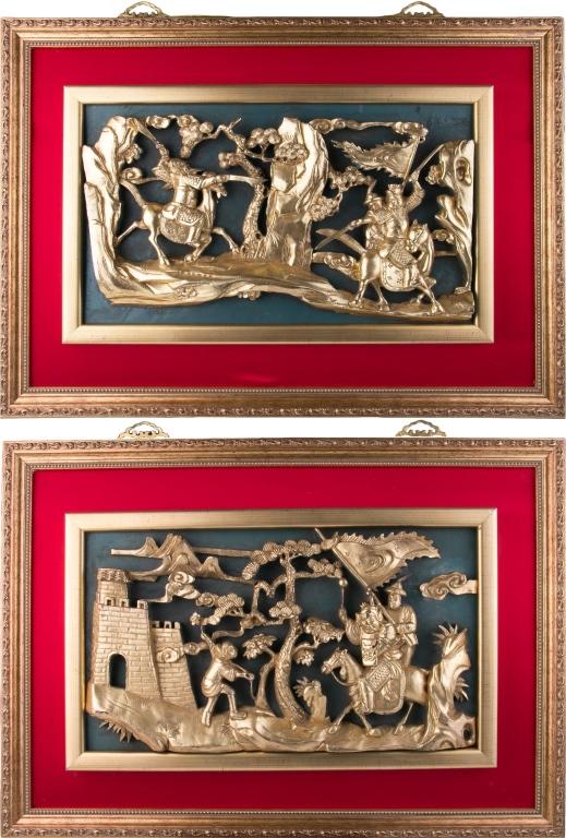 A Pair of Gilt Wood Panels