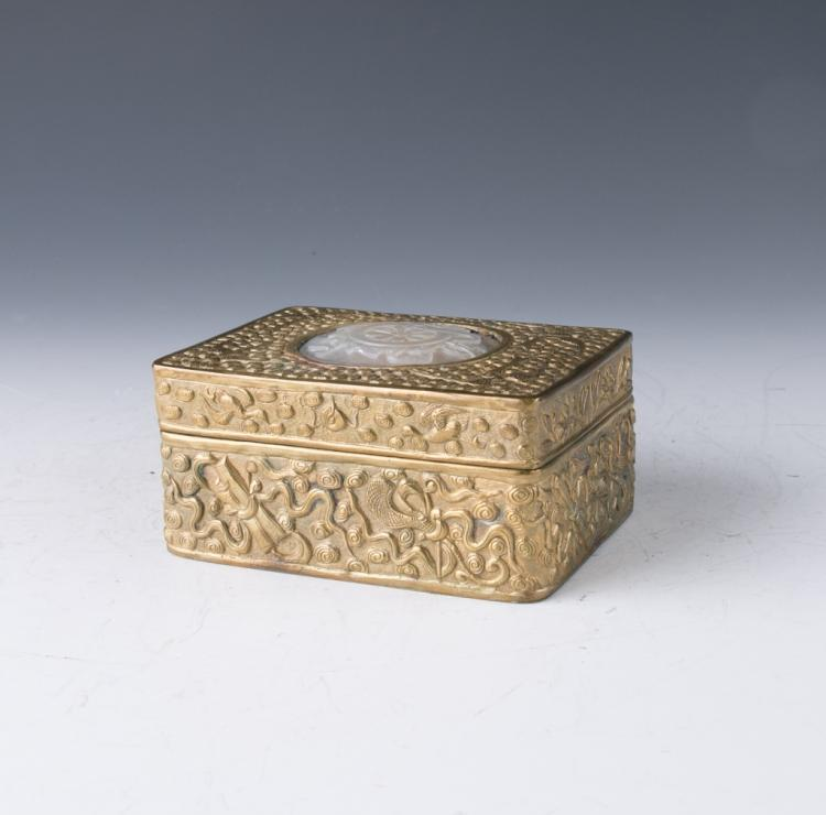 An Agate-Inlaid Gilt-Bronze Box and Cover