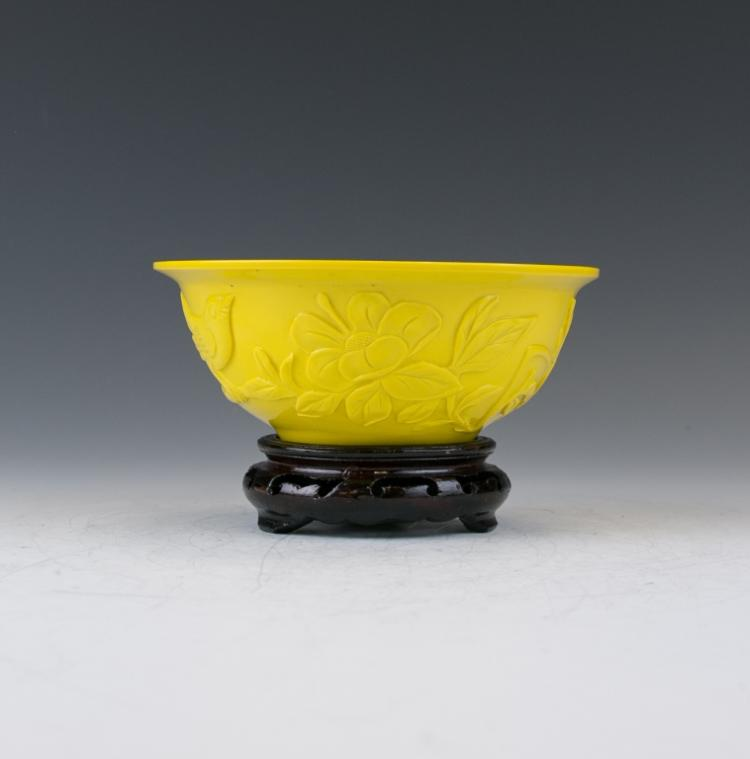 A Yellow Hardstone Carved Bowl