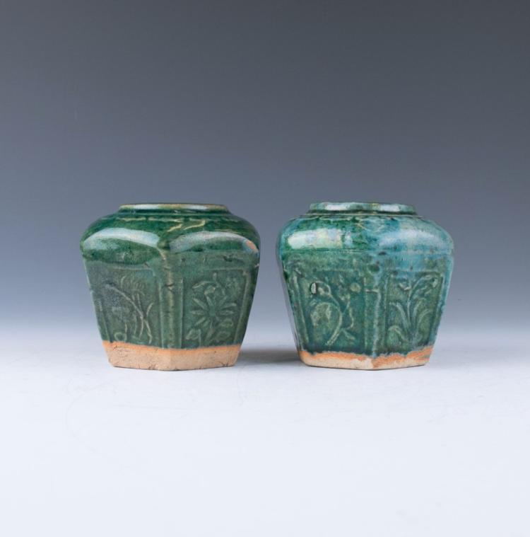 A Pair of Hexagonal Green Glazed Jars