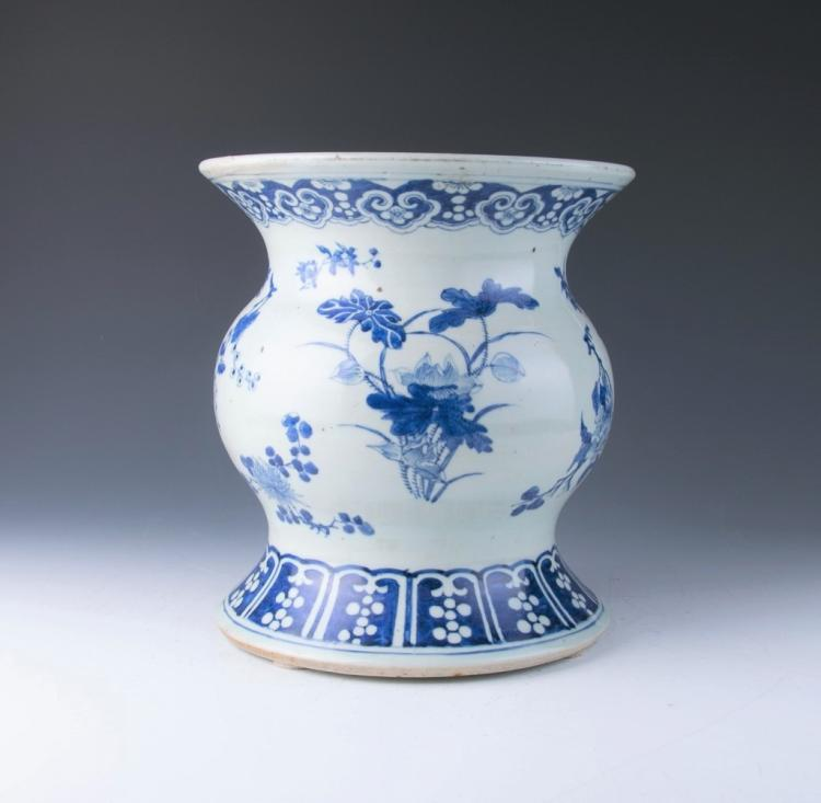 A Blue and White Garden Stool