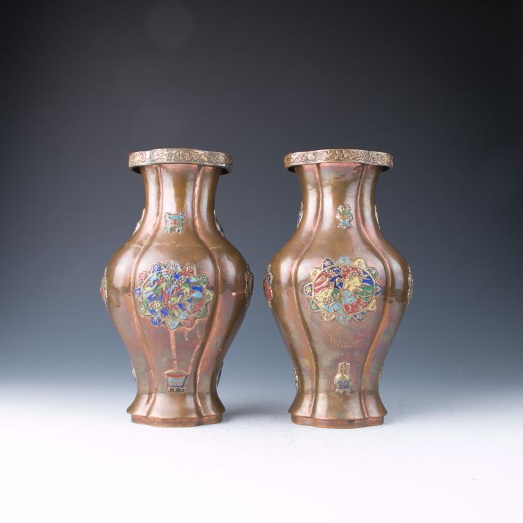 A Pair of Canton Enamel Vases, Qing Dynasty