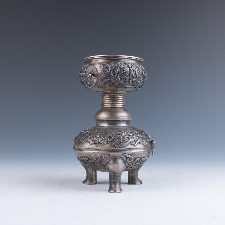 A Silver Tripod Censer, Qing Dynasty