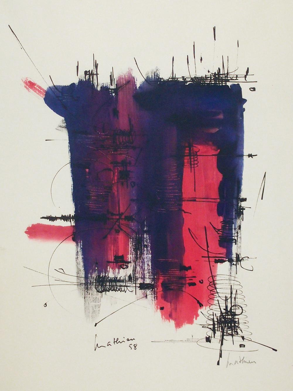 Ohne Titel. Farb. Lithographie. 1958. 51 x 41 cm (70 x 50 cm). Signiert und nummeriert; im Stein zusätzlich signiert. (1)