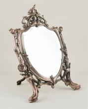 Silvered metal table mirror. France. Art Nouveau. Circa 1910. - 29 x 23,5