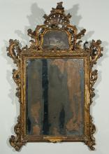 Large carved and gilded wooden cornucopia mirror.  18th century.?In its ori