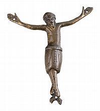 Christ.  Copper appliqué figure with light gilt residue.  Limoges. 13th century.