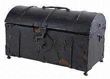 Leather chest with ironwork.  France.  15th century.