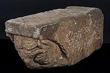 Beam end.  Carved stone sculpture.  Romanesque.  13th century.