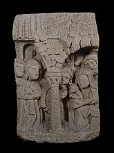 The Adoration of the Shepherds.  Sculpted stone relief.  Castilian School.  Possibly from Leon.  14th – 15th century.  Sculpture